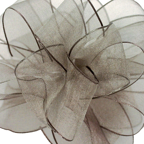Offray WIRED ORGANZA 2 1/2'' PEWTER 25 YARDS