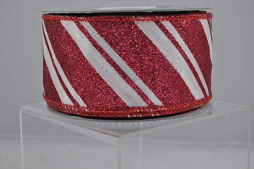 RIBBON CANDY CANE 2.5X10 RED/WHT