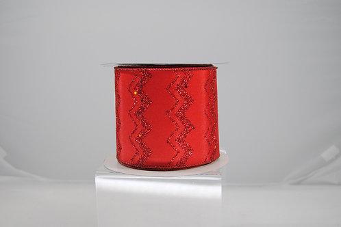 RIBBON GLIT CHEVRON 4X10 RED/RED