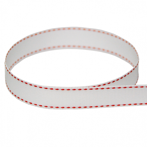 Saddle Stitch GG 5/8'' WHITE/RED 50 YARDS
