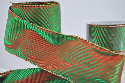 RIBBON 2-TONE 2.5X10 RED EMERALD