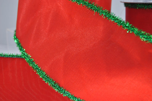 RIBBON FLUFFY TRIM 4X10 RED