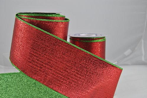 RIBBON METALLIC MESH 4X10 RED GRE