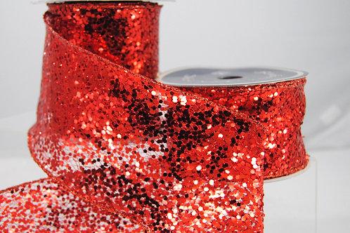 RIBBON MEGA GLITTER 2.5X10 RED