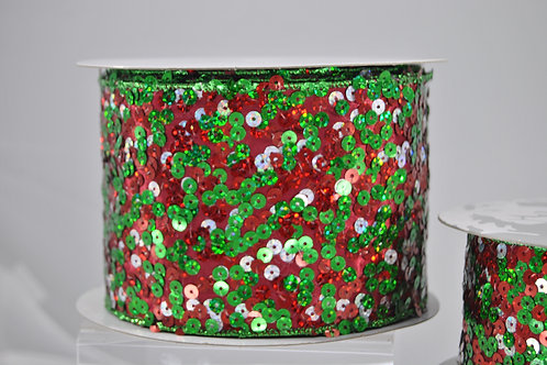 RIBBON SEQUIN FLASH 4X10 RED/GRN