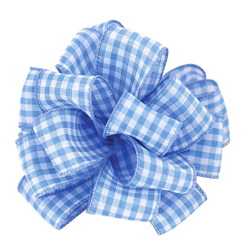 Offray WIRED GINGHAM 1 1/2'' BLUE 50 YARDS