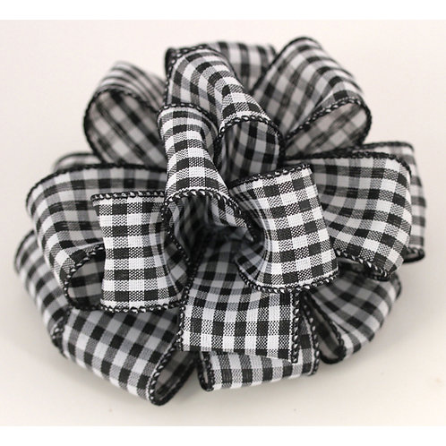 Offray WIRED GINGHAM 1 1/2'' BLACK 50 YARDS