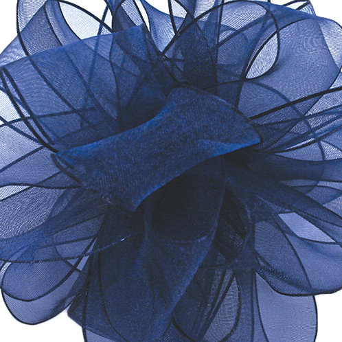 Offray WIRED ORGANZA 2 1/2'' NAVY 25 YARDS