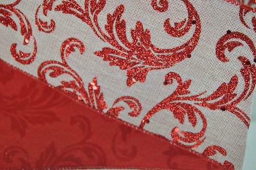 RIBBON GLIT ACANTHUS 2.5X10 RED/W