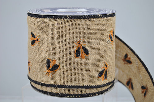 RIBBON EMB HONEY BEES 4X10 NATURAL