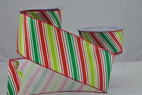 RIBBON CANDY CANE 2.5X10 R/GRN/WH
