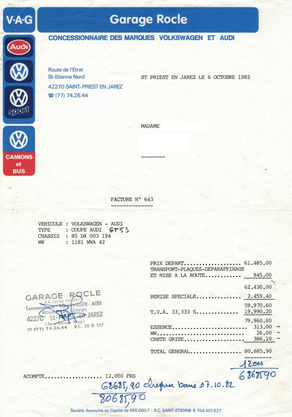 Facture d'achat Audi coupé GT