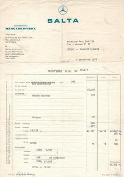 Facture achat Mercedes 200E de 1978