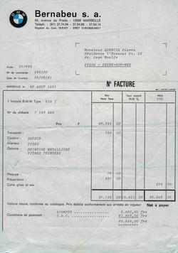 Facture d'achat BMW 318i de 1981