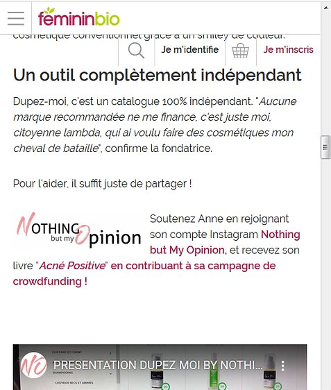 ARTICLE DUPEZ MOI NOTHING BUT MY OPINION