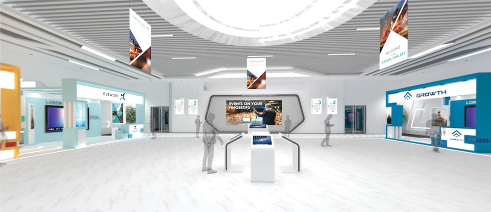 image of a virtual gallery with 3D models of exhibition booths