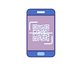 Icon of smartphone with QR Code