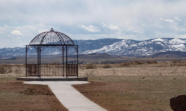 Pergola with a beautiful ceremony facing the Rocky Mountains