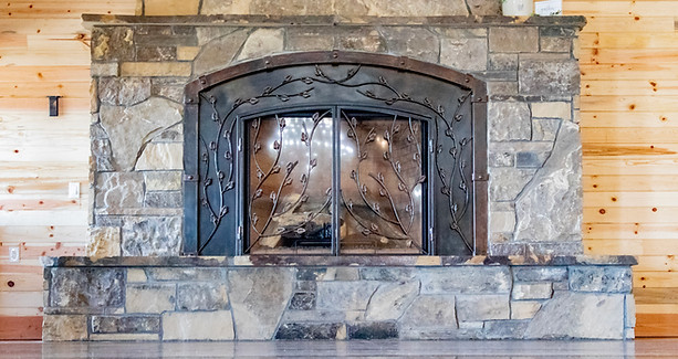 Close up on the fireplace