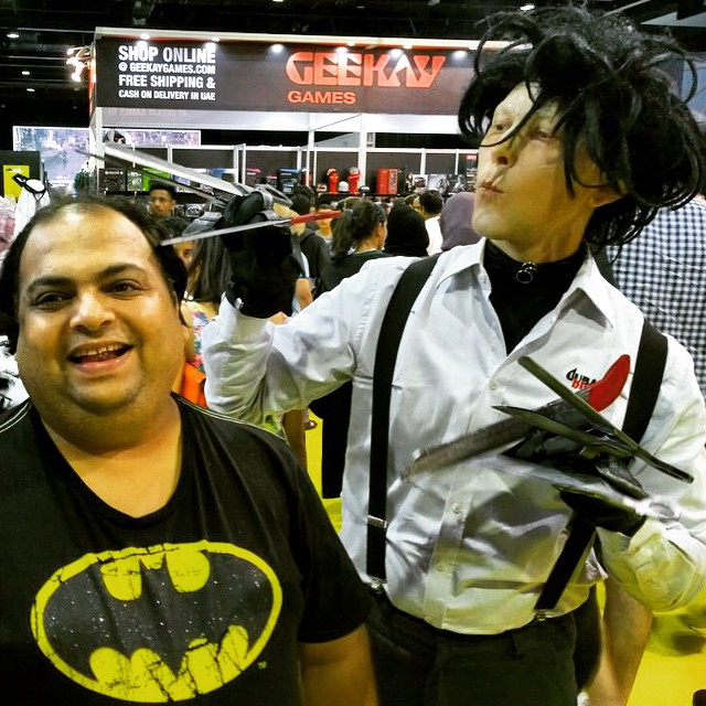 Getting a haircut done at MEFCC #mefcc #bat #batman #edwardscissorhands #dccomics #haircut #hairdo #