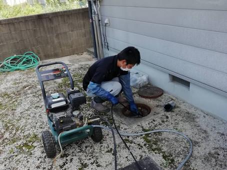 高圧洗浄機による排水管洗浄 徳島