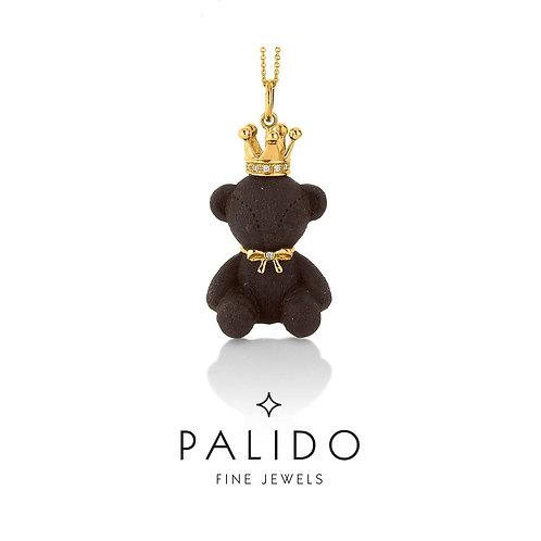Palido Anhänger Teddybär Ebenholz Gelbgold Diamant S4794