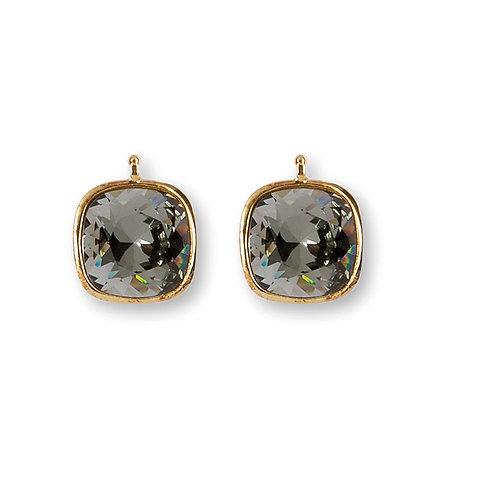 14mm Kristall vergoldet, 14mm Einhängerpaar, black diamond