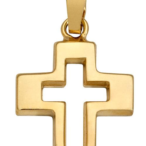 K08 SCHNEIDER BASICS Kreuzanhänger aus Gelbgold