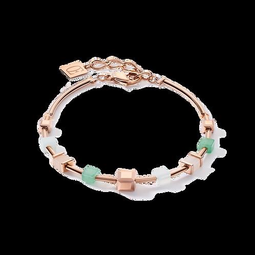 Armband GeoCUBE® big Edelsteine, Swarovski® Kristalle & Edelstahl roségold grün-