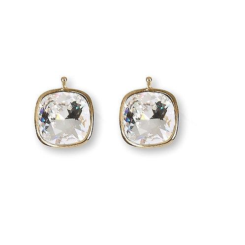 14mm Kristall vergoldet, 14mm Einhängerpaar, kristall