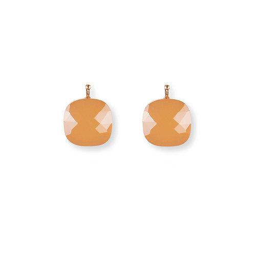 12mm Facettiertes Quarzglas, Einhängerpaar, apricot