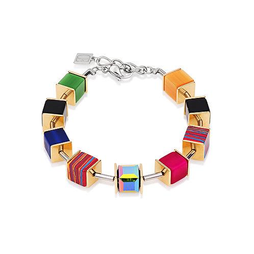 Coeur de Lion GeoCUBE® Bracelet Swarovski® Crystals malachite multicolor gold