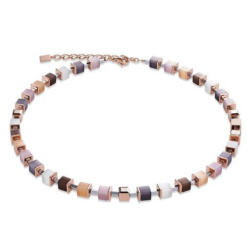 Halskette GeoCUBE® synthetisches Tigerauge & Swarovski® Kristalle beige-rosa