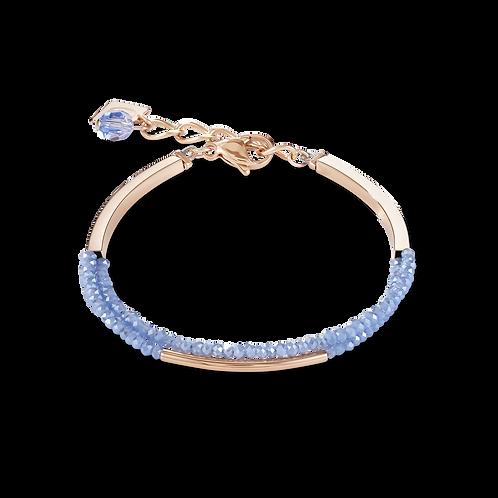Armband Wasserfall small Edelstahl roségold & Glas hellblau