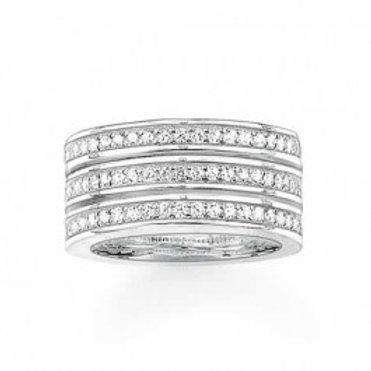TR1970 THOMAS SABO 3reihiger Ring mit Weißen Steinen