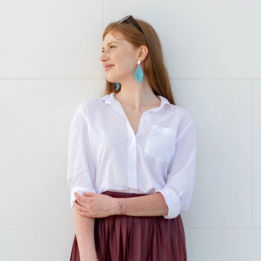 Matea wearing our turquoise pendants