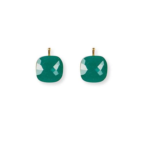12mm Facettiertes Quarzglas, Einhängerpaar, smaragd