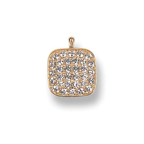 Zirkonia-Quadrat 10mm - Einhängerpaar E41- Kristall Gelb