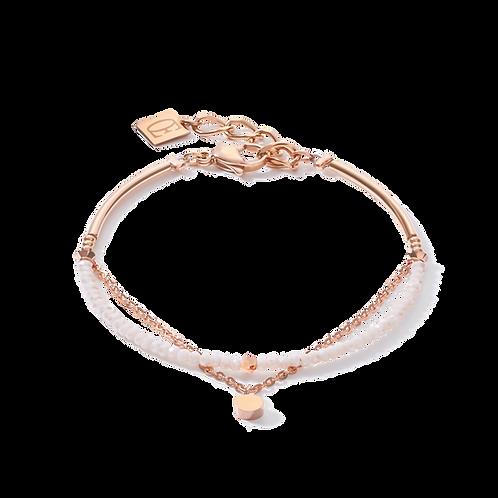 Armband Coins & Chain roségold-weiß