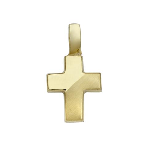 TG16 SCHNEIDER BASICS Kreuz Anhänger Gelbgold