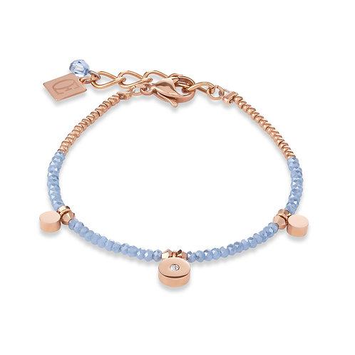 Armband Coins small Edelstahl roségold, geschliffenes Glas & Swarovski® Kristall