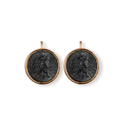 19mm Bronze- Münzen, Einhängerpaar, schwarz