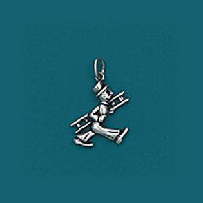 ANHÄNGER Schornsteinfeger Figur mittlere Größe Silber S0233