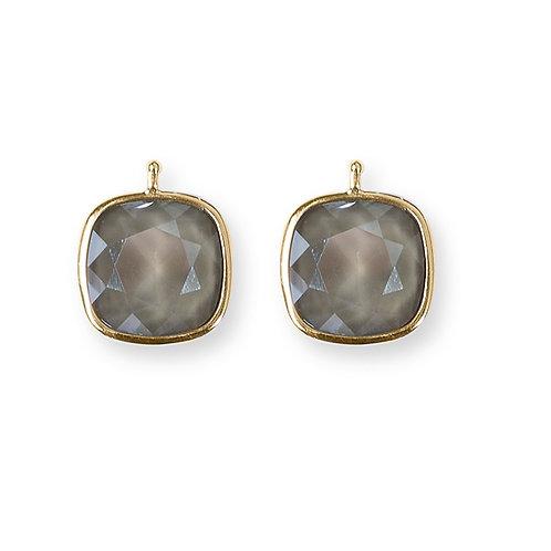 14mm Kristall vergoldet, 14mm Einhängerpaar, puder grau