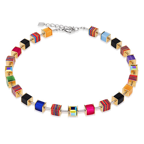 Coeur de Lion GeoCUBE® Halskette Swarovski® Kristalle Malachit multicolor gold