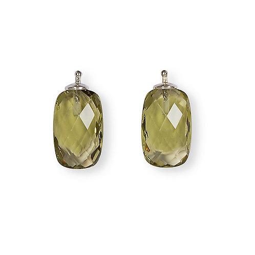 Briolette-Rechteck 16x10mm Einhängerpaar, oliv