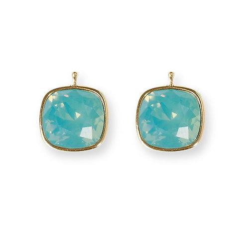 14mm Kristall vergoldet, 14mm Einhängerpaar, lagune