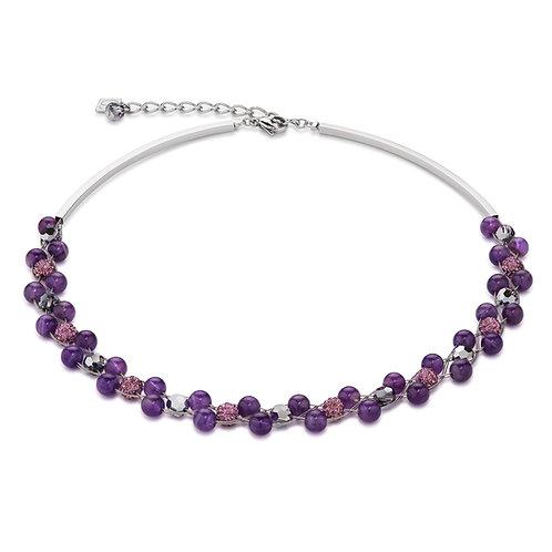 Coeur de Lion Halskette Multirow Swarovski® Kristalle & Amethyst lila 4895100800