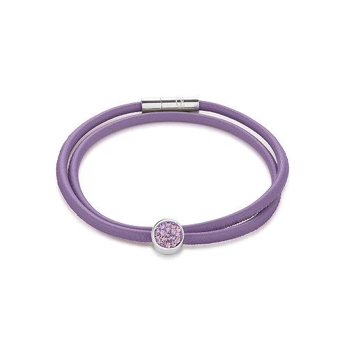 Coeur de Lion Armband Nappa-Leder & Kristalle Pavé hell amethyst 0118310826