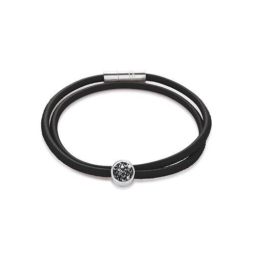 Coeur de Lion Armband Nappa-Leder & Kristalle Pavé anthrazit 0118311223